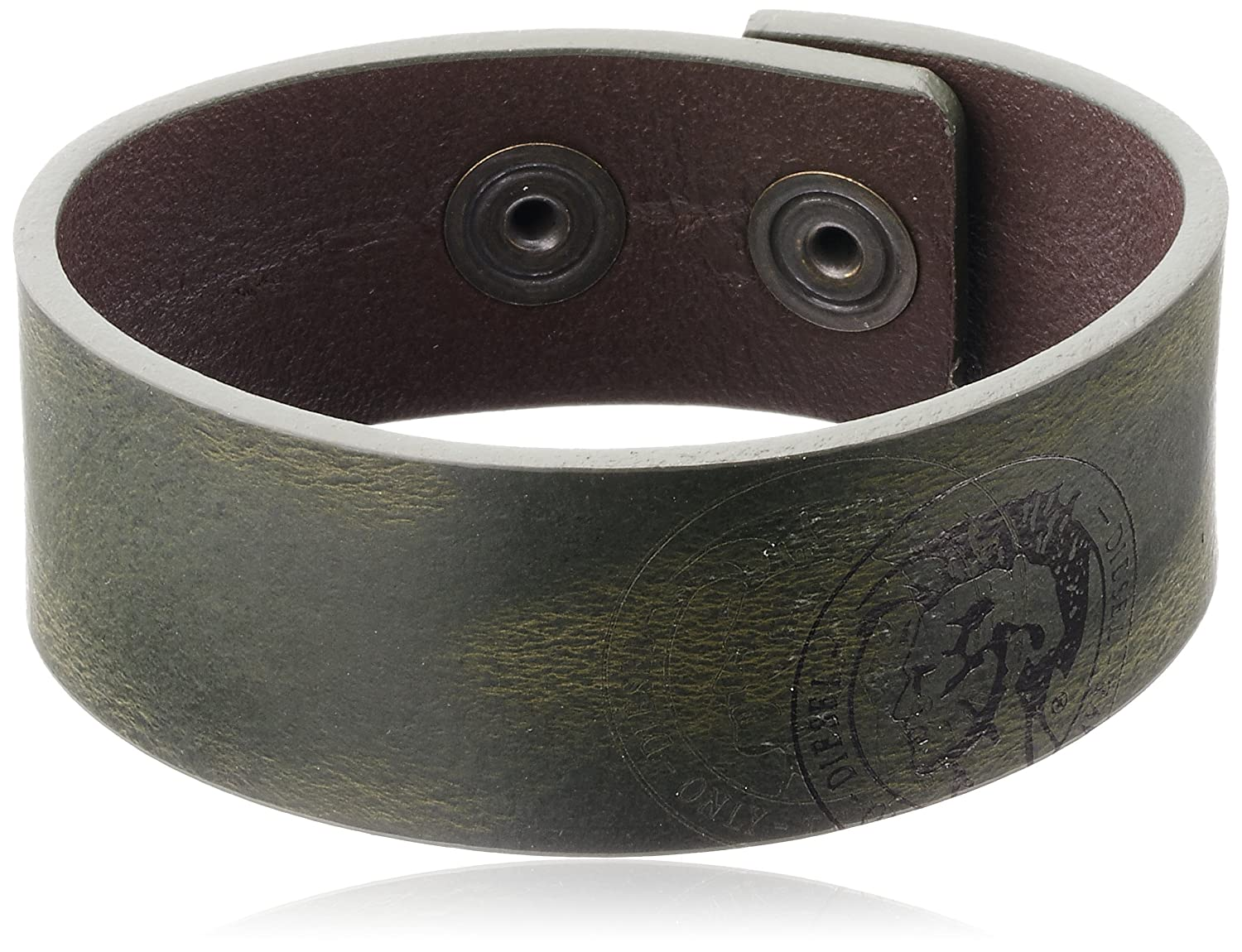Diesel Men's Brown A-Rough Leather Cuff Bracelet