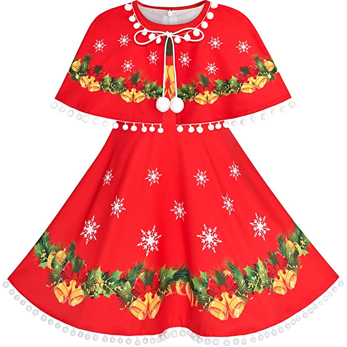 a9c0c6909b347 Sunny Fashion Girls Dress Jingle Bell Red Cape Cloak Christmas New Year  Size 4