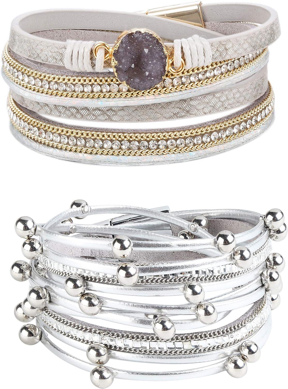 Milacolato 2Pcs Multi-Layer Leather Bracelet for Women Girls Wrap Cuff Bangle Bracelets Magnetic Clasp Bracelets