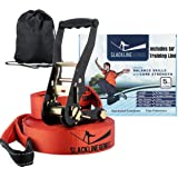 "Slackline Kit With Training Line - 50ft x 2"" Slack Line/Ratchet Tensioner/Tree Protectors | Core and Balance Home Exercise Equipment- Perfect Slackline Kit with Bonus Carry Bag (Beginner)"