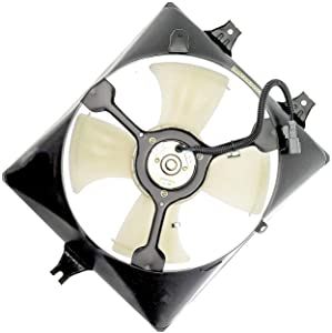 APDTY 731345 A/C Condenser Cooling Fan Assembly 2003-2007 Honda Accord V6 3.0L (Replaces 38611-RCA-A01, 38615-RCA-A00, 38616-P8C-A01)