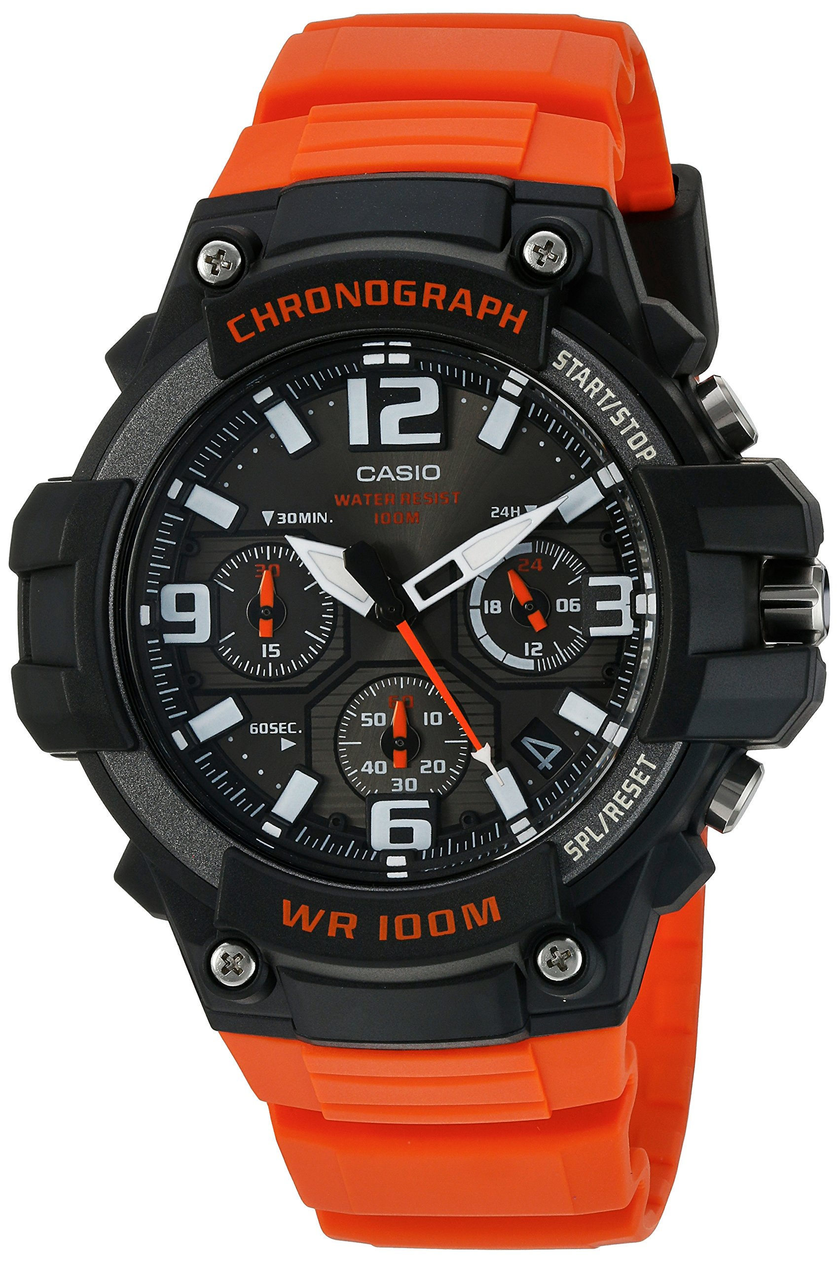 Casio Men's 'Heavy Duty Chronograph' Quartz Stainless Steel and Resin Casual Watch, Color:Orange (Model: MCW100H-4AV)
