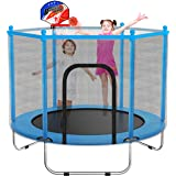 """60"""" Trampoline for Kids - 5 Ft Indoor or Outdoor Mini Toddler Trampoline with Safety Enclosure, Basketball Hoop, Birthday Gif"""