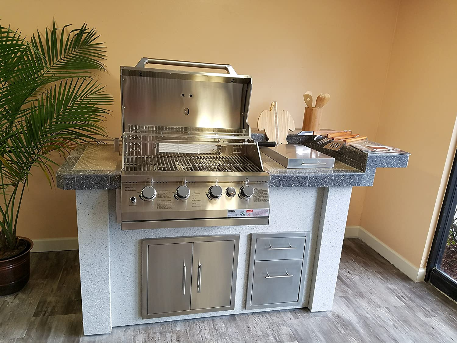 Amazon.com: Outdoor Kitchen Island,with Grill and Side ...