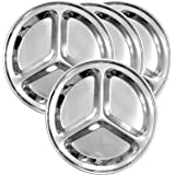 Round Stainless Steel Divided Plates (4-Pack); 9.5-Inch 3-Section Divided Plates for Kids, Portion Control, Camping, Mess Trays & More