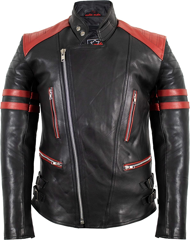 Mdm Retro Oldschool Lederjacke Schwarz Rot Motorradjacke Bekleidung
