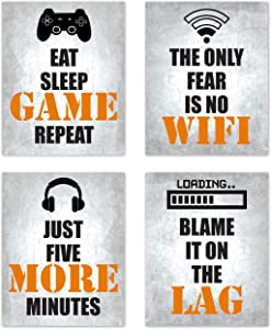 Video Game Themed Gamer Wall Art Posters Home Decor Black, White and Orange Gaming Bedroom Pictures Prints Decorations for Teen Dorm College Playrooom Gameroom Boys Girls Children –Set of 4 8 x 10 in.