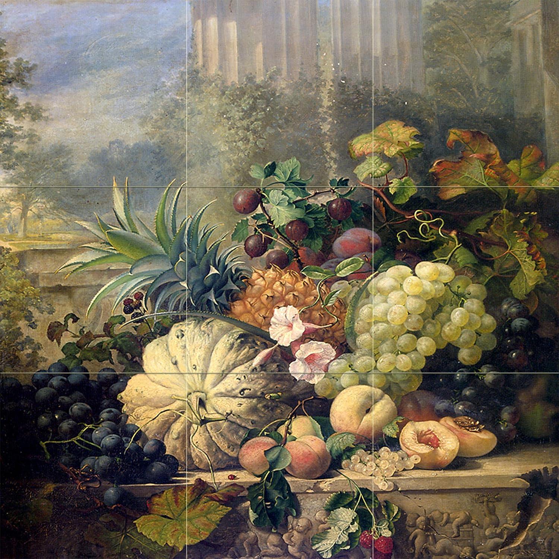 Fruit e stannard pineapple melon tile mural wall for Ceramic mural paintings