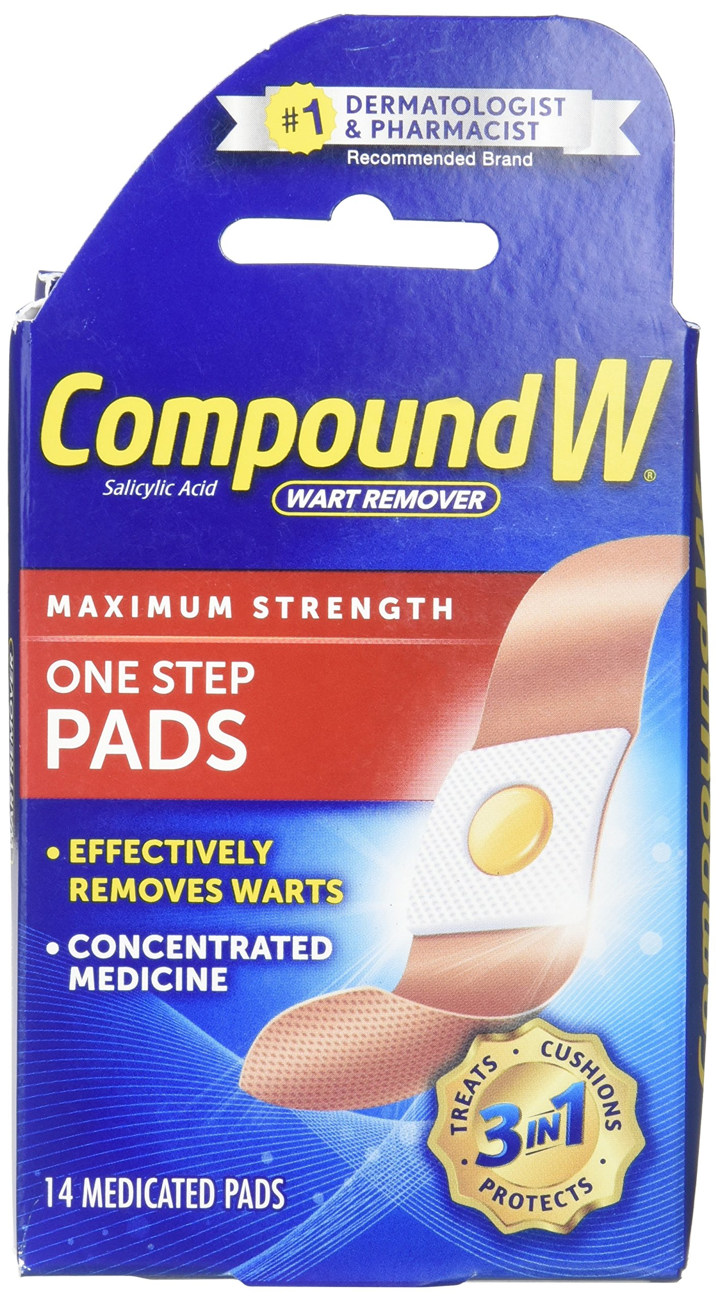 Compound W Wart Remover One Step Pads - Maximum Strength - Waterproof, Medicated, Self-Adhesive Pads Conceal and Protect Common and Plantar Warts While Treating them with Salicylic Acid - 14 Count
