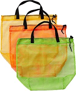 HOMZ Purpose Carry Straps Assorted Colors, Green/Yellow/Orange, Set of 12 Mesh Tote Laundry Bag, 19 x 18