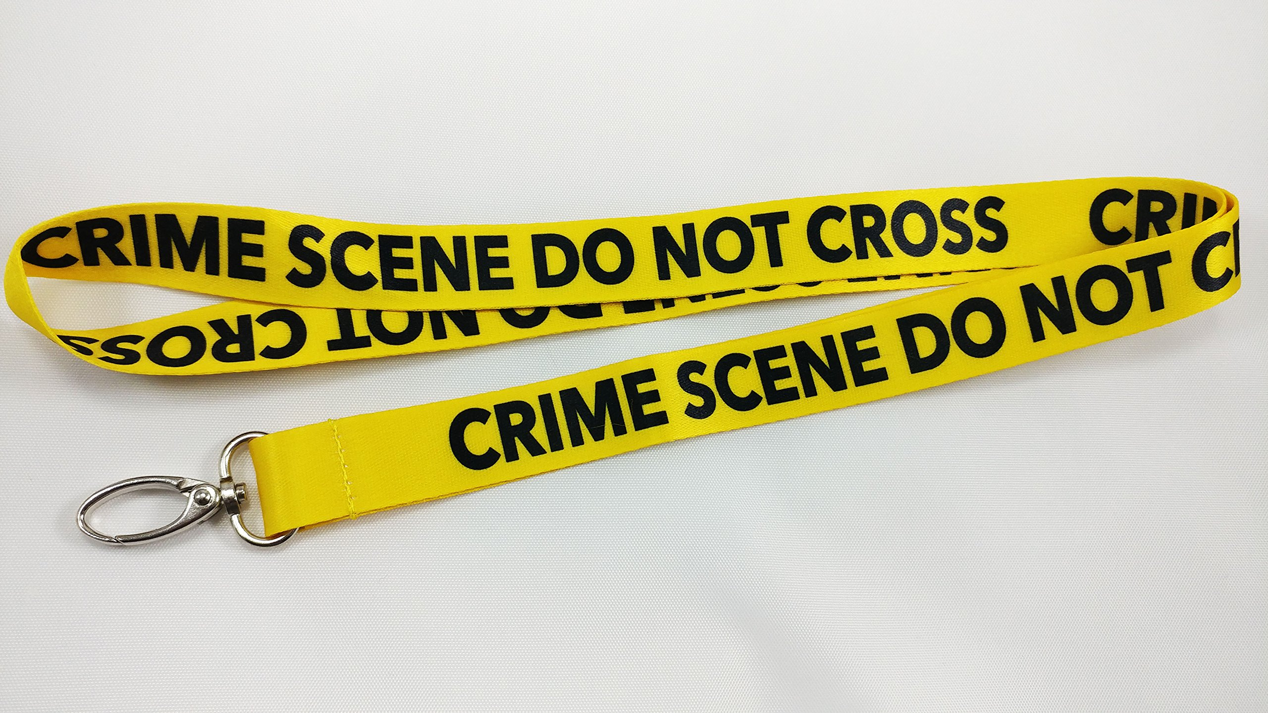 Crime Scene Do Not Cross Lanyard with clip for keys or id badges. Great for work id badge, school id badge, car keys, house keys. Perfect for CSI fans, forensic students. (10)
