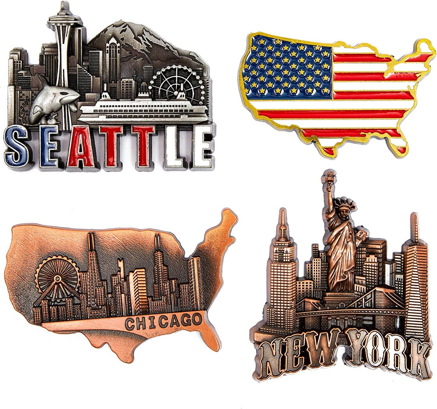 Juvale American Magnets for Fridge – Pack of 4 – New York, Chicago, Seattle, US Flag