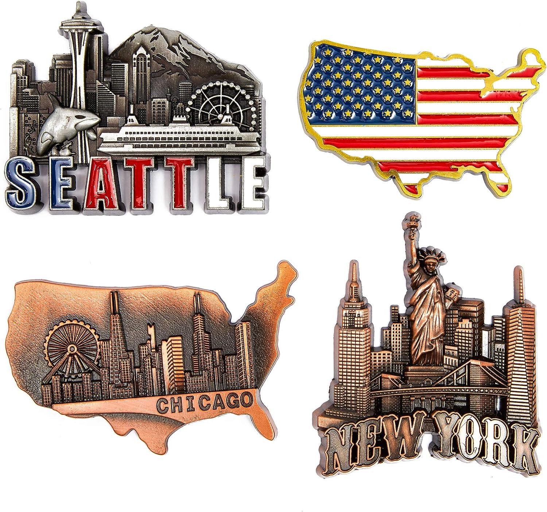 Juvale American Magnets for Fridge – Pack of 4 – New York, Chicago, Seattle, US Flag