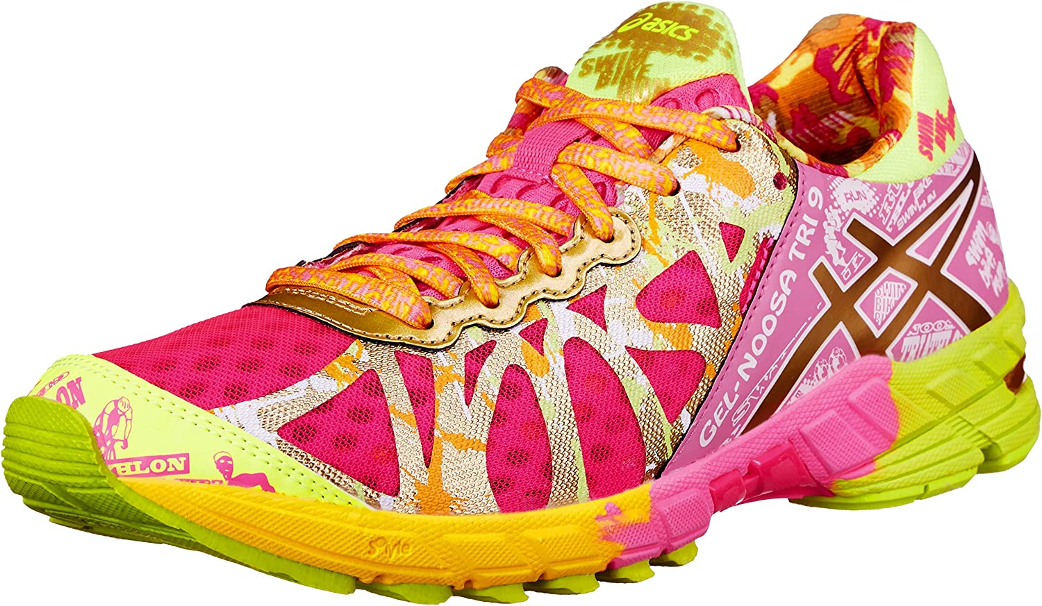 Asics Gel-Noosa Tri 9 Gr de la Mujer Running Shoe, Rosado (Hot Pink/Gold/Gold Ribbon), 5.5 B(M) US: Amazon.es: Zapatos y complementos