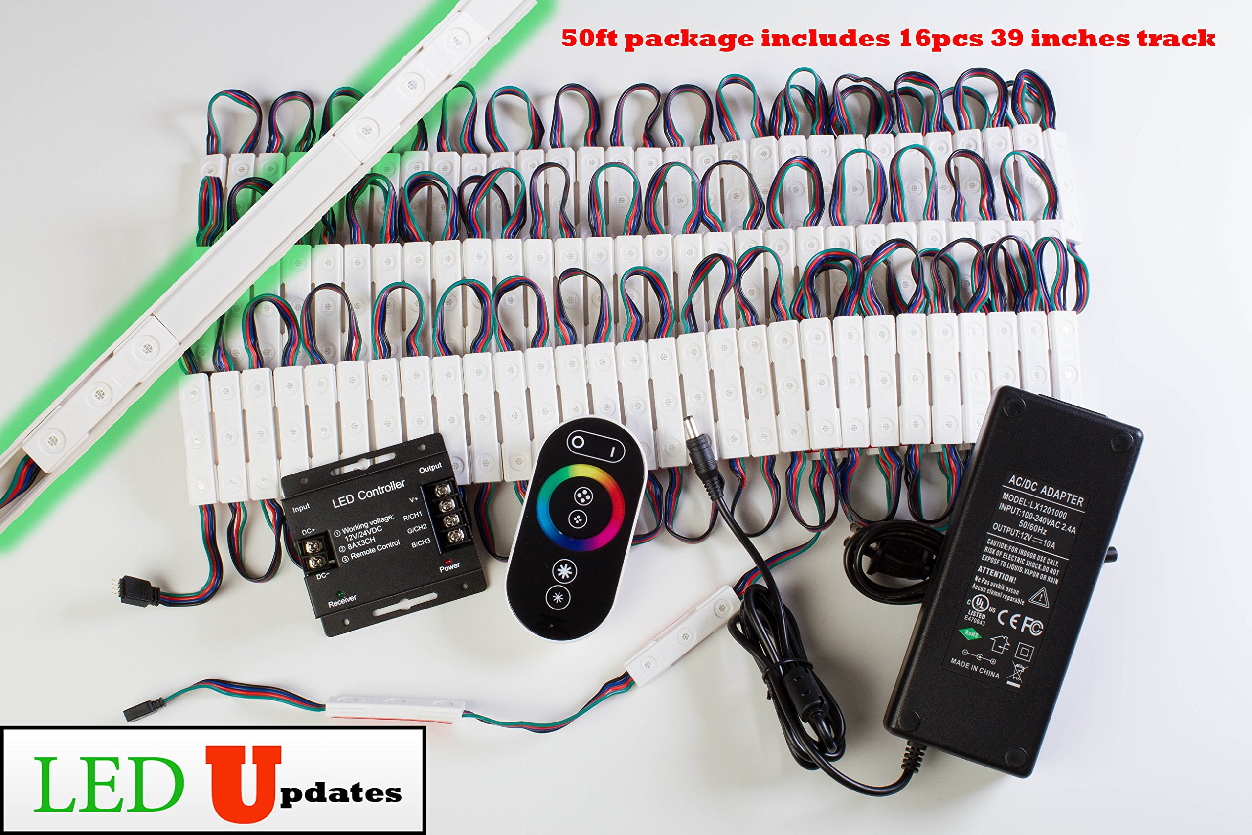 LEDUPDATES Color Change Storefront RGB LED Light with Track and UL Listed power supply (50ft)