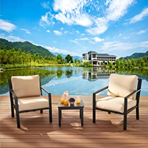 LOKATSE HOME 3 Pieces Patio Bistro Set Steel Cushioned Chairs with Side Coffee Table Outdoor Conversation Furniture, Beige