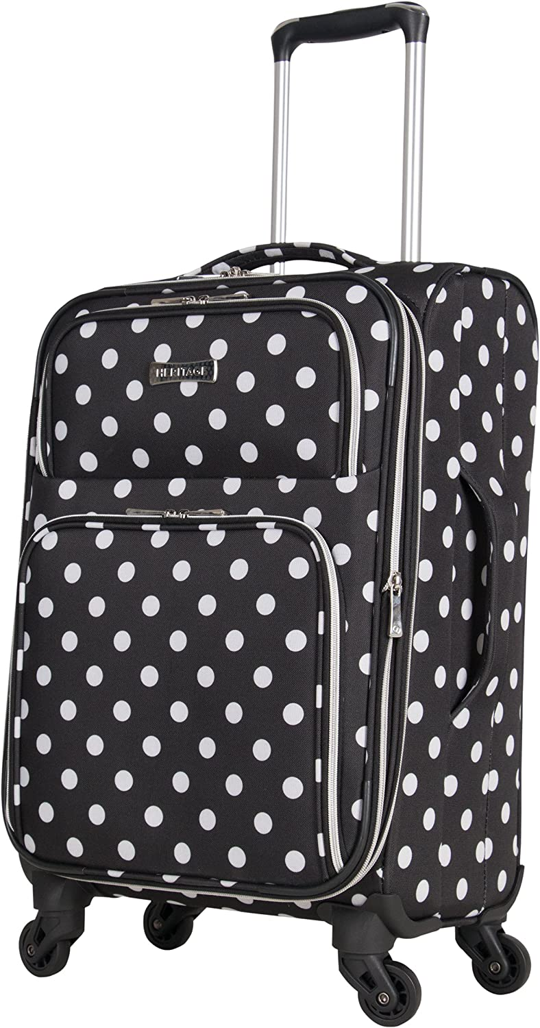 Heritage Travelware Albany Park 28 600d Polka Dot Polyester Expandable 4-wheel Spinner Checked Luggage Navy