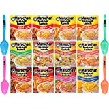 Maruchan Ramen Instant Lunch - 10 flavor Variety 12 pack 2.25 oz each - with Limited Edition By The Cup Spoons