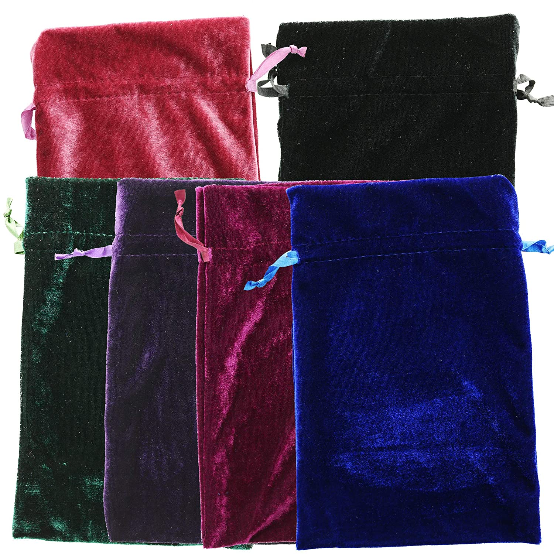 Velvet Tarot Rune Bag Bundle 6 x 9 In, 12-Pack 4 Colors