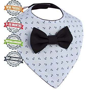 "8c9639b33769 Baby Bandana Drool Bibs for Drooling removable Bow Tie Gift Set For  Boys""Light-"