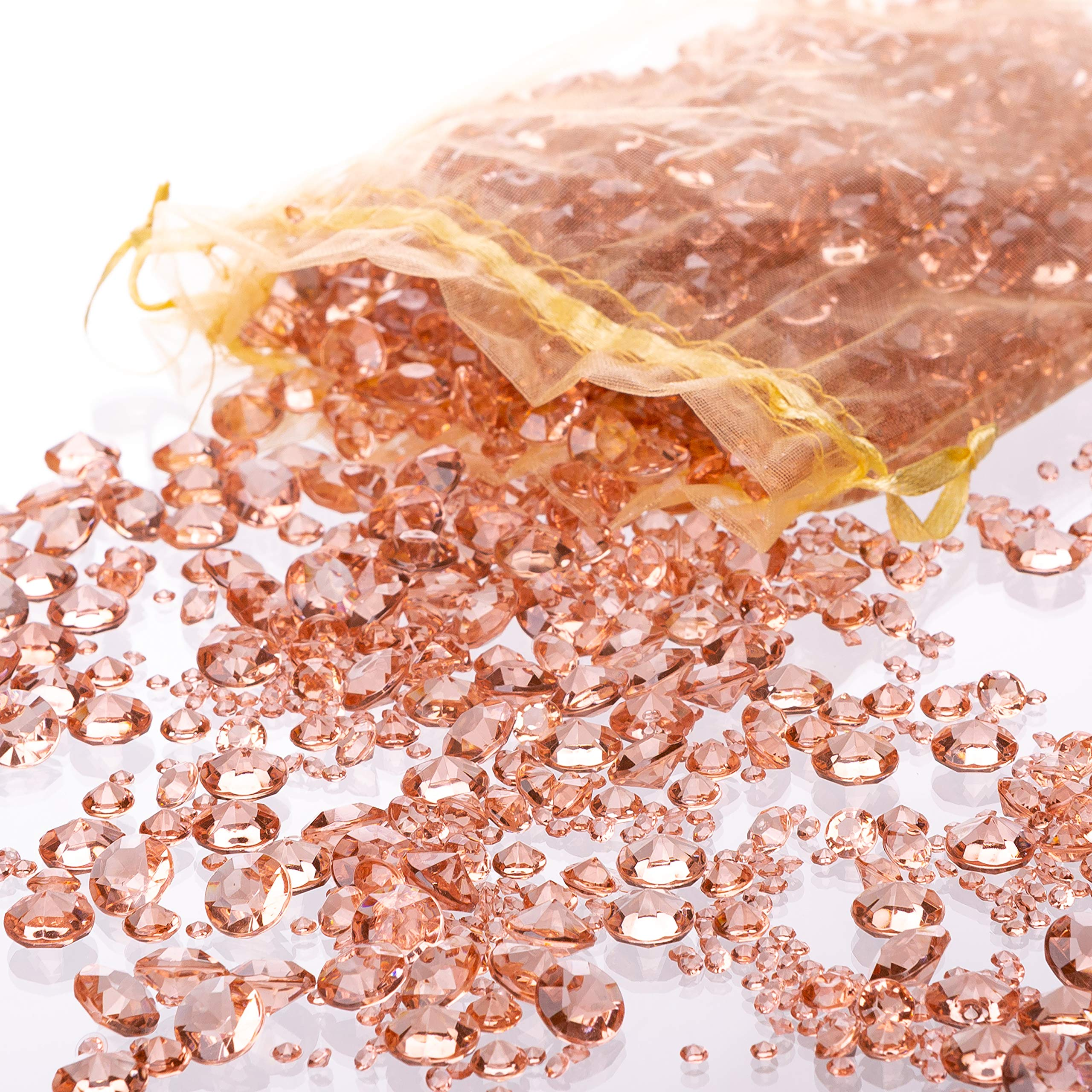 Luxury Rose Gold Diamond Table Confetti with over 3,000 Acrylic Scatter Gems in Three Different Sizes For Extra Sparkle