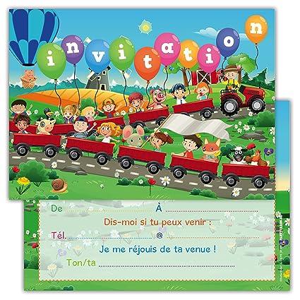 Lot De 12 Cartes D Invitation Pour Anniversaire Partie Fête Cartons D Invitation En Français Motif