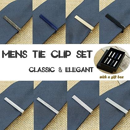 Jstyle 3 PCS and 4 PCS Tie Clips Set for Men