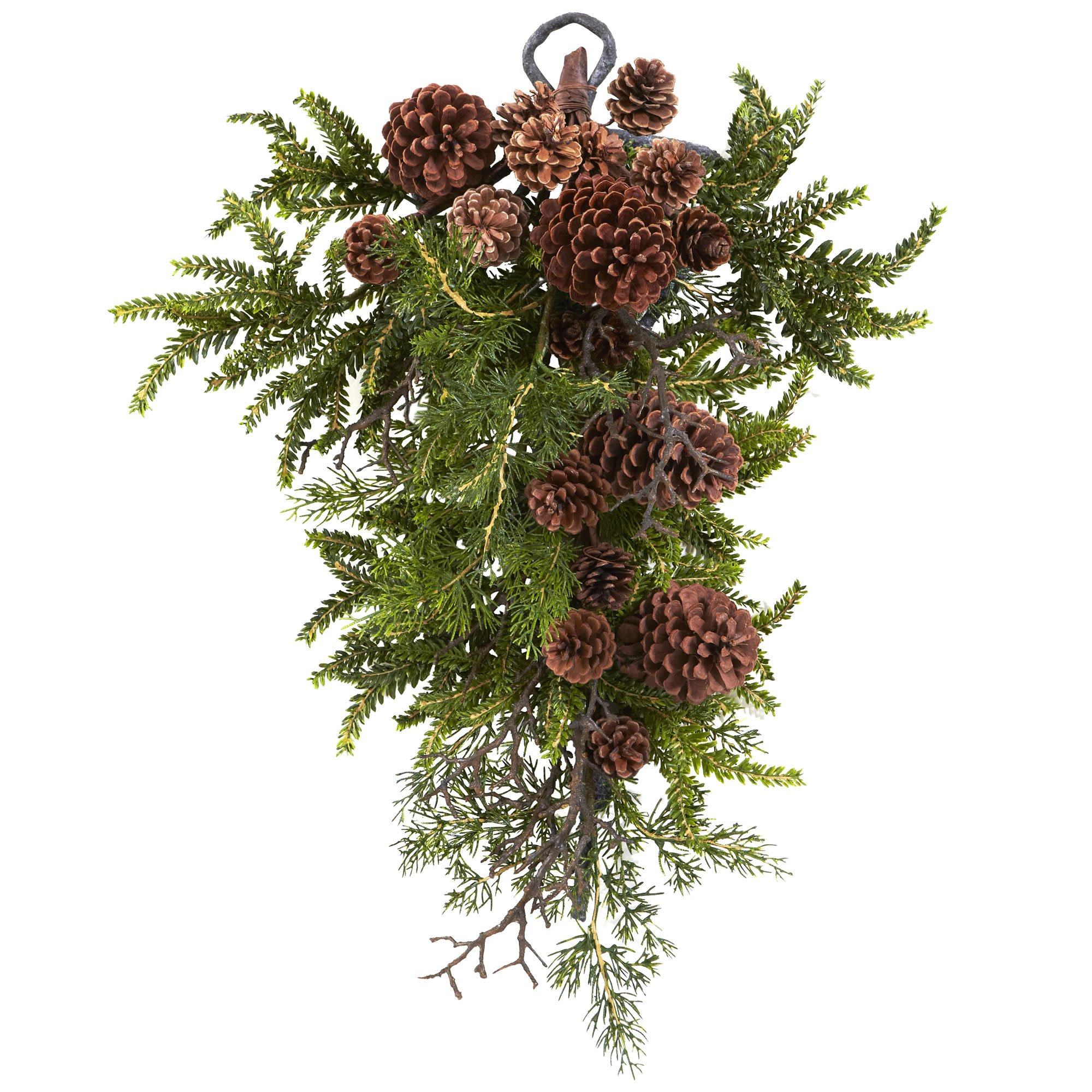 Nearly Natural 4944 Pine and Pine Cone Teardrop, 26-Inch, Green/Brown by Nearly Natural