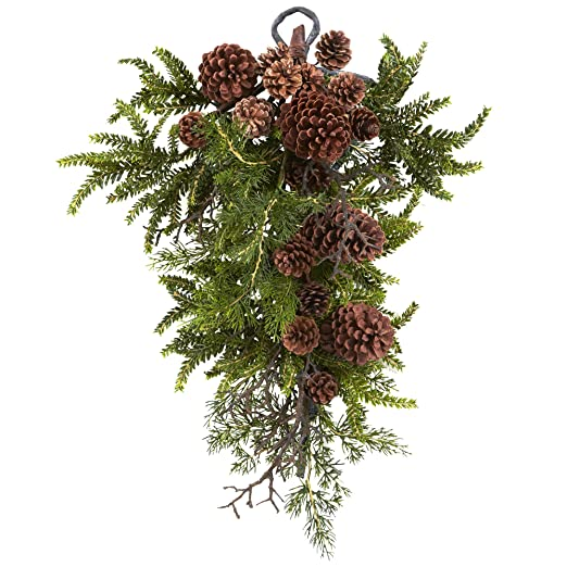 Christmas Tablescape Decor - Nearly Natural Evergreen Pinecone Teardrop Swag