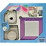 Fujifilm Instax Mini 9 - Kit (Cámara Instax Mini 9 + álbum + funda + paquete de 10 fotografías + lente + pilas), color blanco