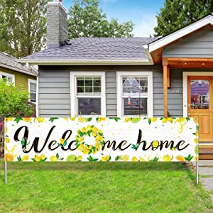 Large Welcome Home Banner Lemon Welcome Banner Decoration Summer Welcome Home Garland Hanging Backdrop Sign Photo Booth Background for Home Outdoor Indoor Party Decor