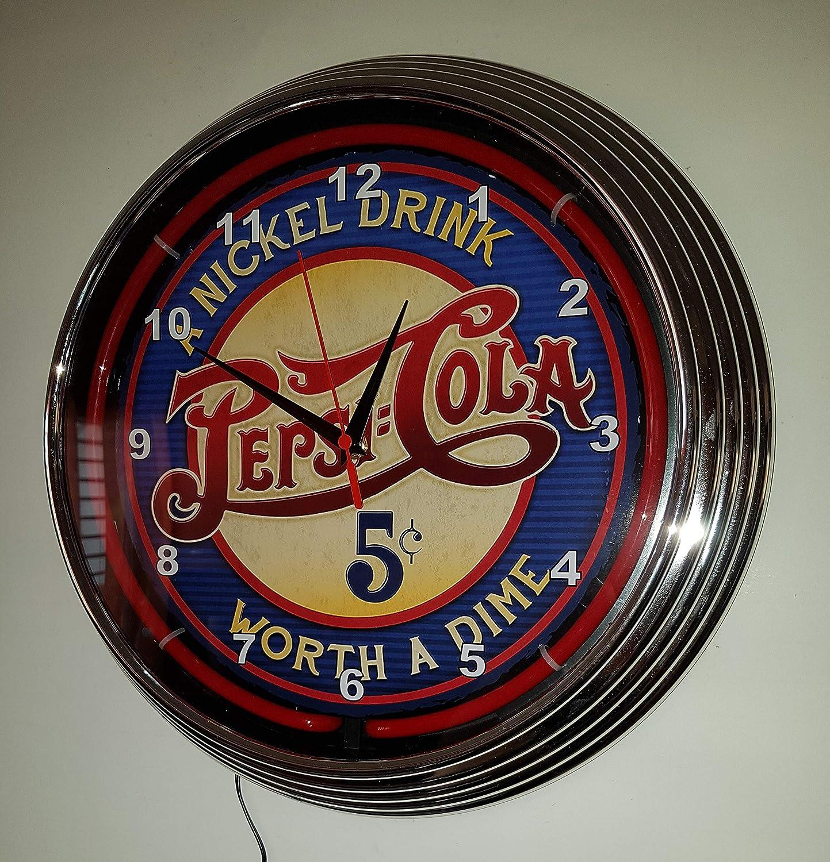 Neon reloj Neon Clock Classic 5 ¢ Pepsi Cola Sign Diámetro=38 cm de diámetro - Reloj pared iluminado con Neon rojas Anillo.: Amazon.es: Iluminación