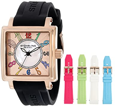 f9425708ea Stuhrling Original Women s 149L3.124614 Lifestyles Ozzie Dream Swiss-Quartz  Mother-Of-Pearl Black Strap Set Watch  Amazon.co.uk  Watches