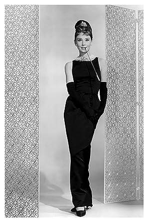 Audrey Hepburn In Long Sleek Black Dress And Gloves Full Modeling