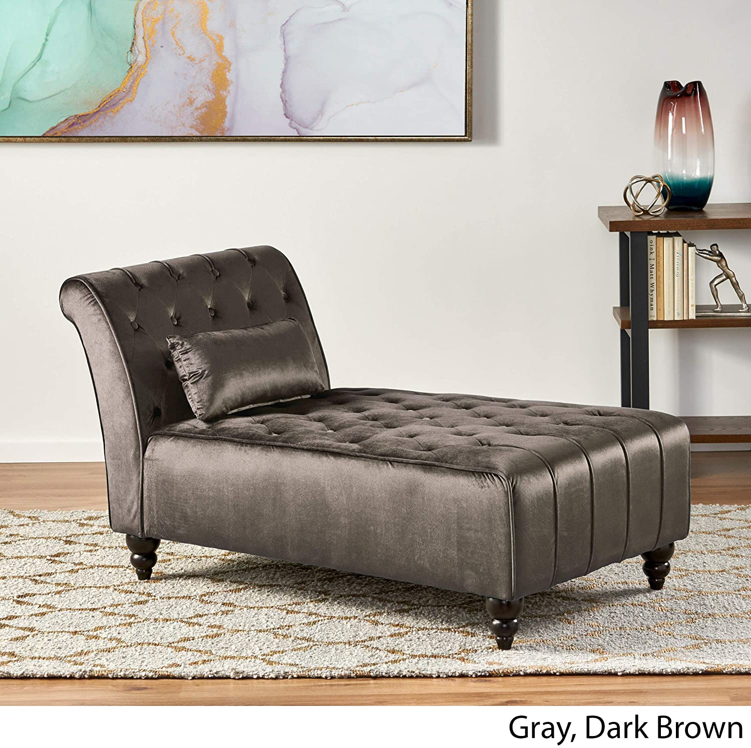 Christopher Knight Home Rubie Velvet Chaise, Grey