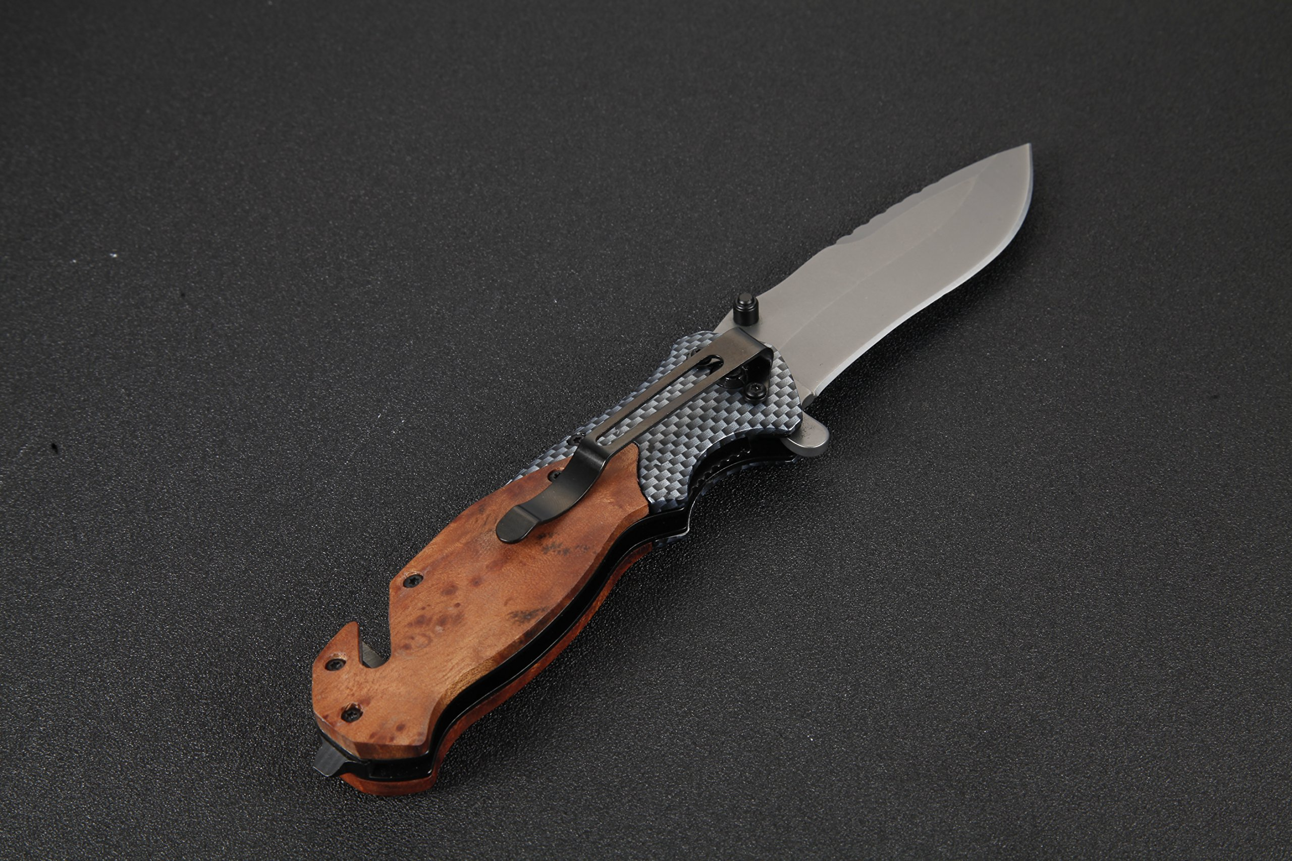 Jeslon Spring Assisted Opening Tactical Folding Pocket Knife, Wood Handle 440C 57HRC Blade Good for Camping Survival and outdoor Activities. by Jeslon (Image #3)