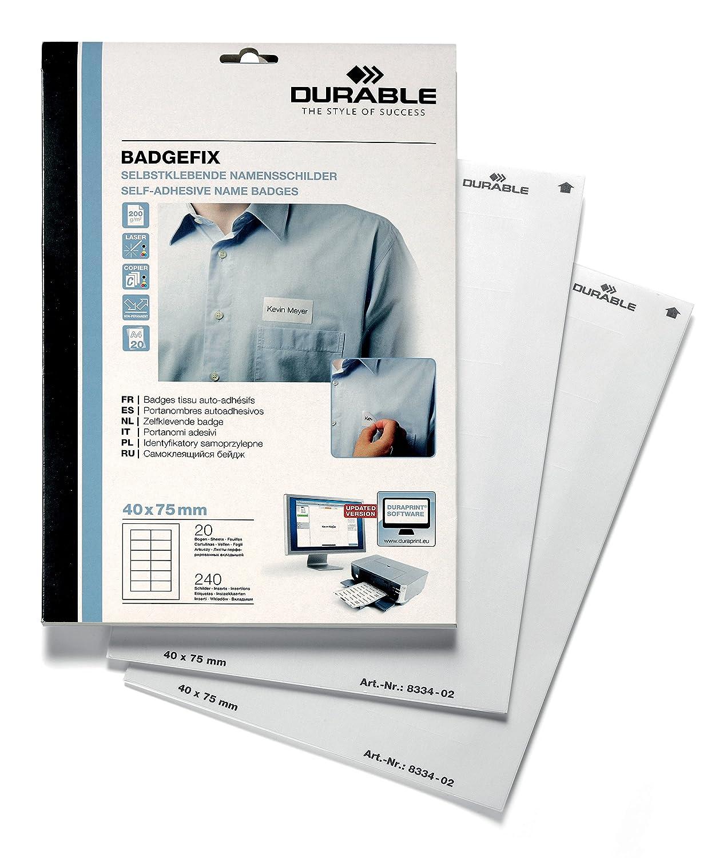 DURABLE 833402 - Badgefix, portanome adesivo in seta acetata, personalizzabile, 40x75 mm, bianco, confezione da 20 fogli (240 unità)
