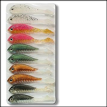 Konger Drop Shot Soft Lure Baits 5cm 2'' Perch Pike Fishing Micro Fish Jig  Heads Hooks Jelly Minnow Worm Twister Shad