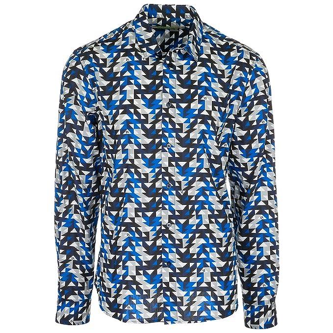 Versace Jeans camisa de mangas largas hombre nuevo blu EU 48 (UK 38) B1GRA6R0