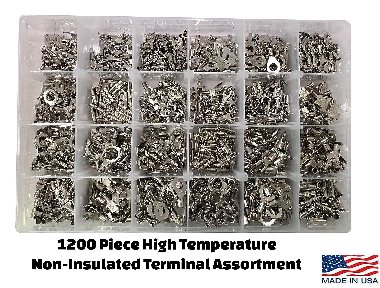 Spade Female /& Male Quick Connectors Sherco-Auto Ring Butt Splice 1200 Piece High Temperature Non-Insulated Terminal Connector Assortment Kit