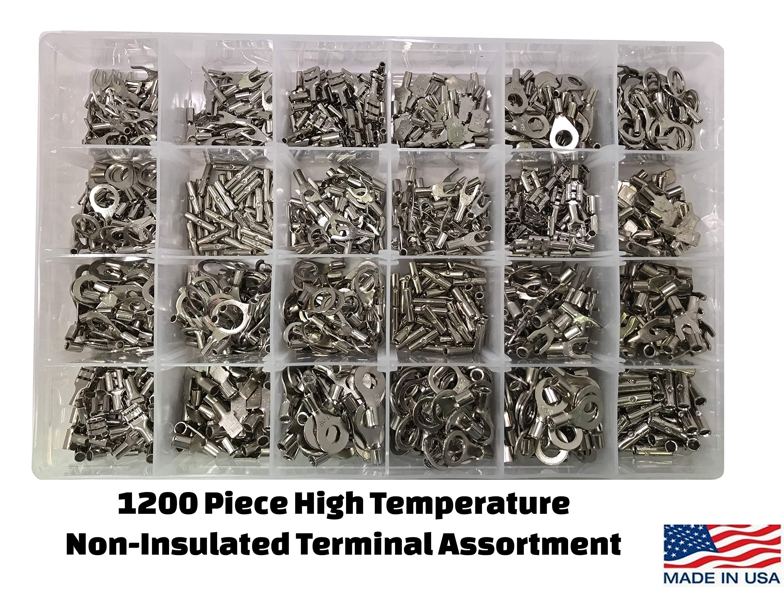 1200 Piece High Temperature Non-Insulated Wire Terminal Connector Assortment Kit - Ring, Spade, Butt Splice, Female & Male Quick Connectors