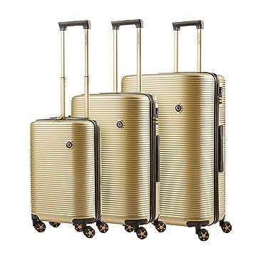 CarryOn Blingbling Juegos de maletas Equipajes TSA - Fuerte TSA bolsas de viaje - Dorado: Amazon.es: Equipaje