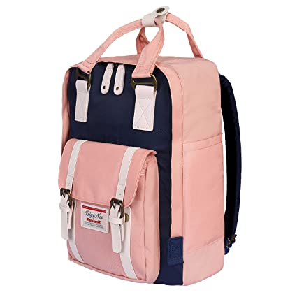 ISIYINER Casual Backpack Durable School Bag Rucksack Waterproof Nylon  Daypack for Shopping Outdoor Travel Hiking for Women Lady Girls 15inch Pink   ... 24a94ed605