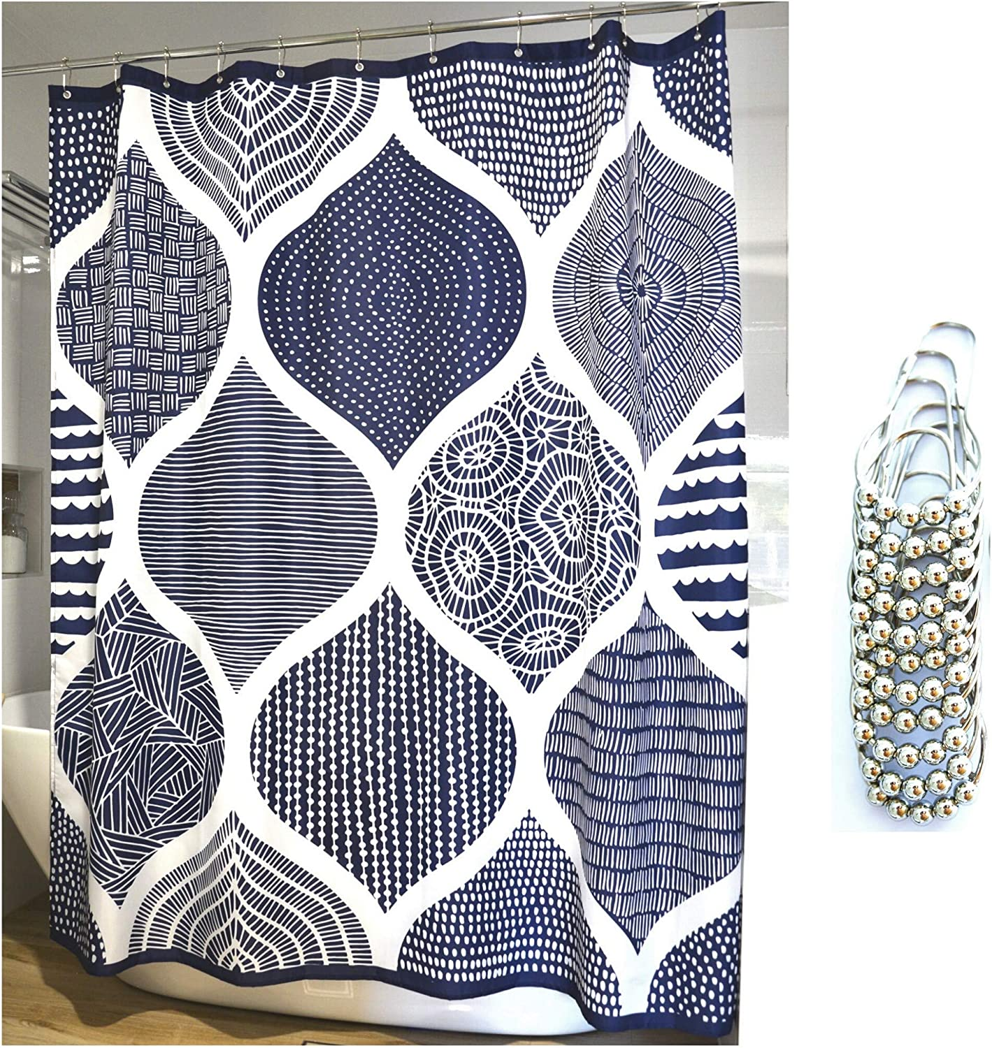 "Juici Home White and Navy Blue Shower Curtain Includes 12 Metal Glide Shower Hooks, Moroccan Pattern, Boho, Suits Modern Home Decor, Rustic or as a Farmhouse Shower Curtain 72"" x 72"""