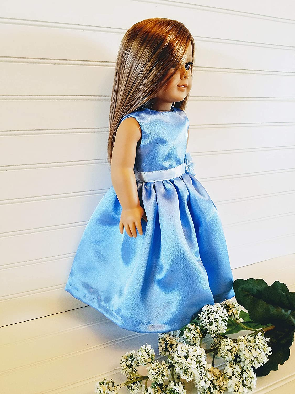 Blue Satin Handmade Doll Dress fits American Girl dolls 18 Doll Dress