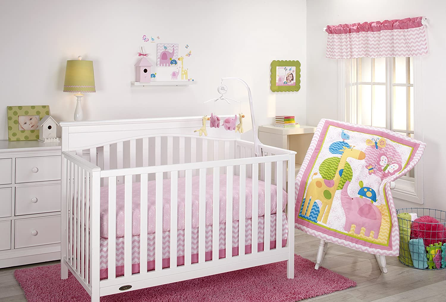 Little Bedding by NoJo 3 Little Monkeys 10 Piece Crib Bedding Set, Girl 7374660