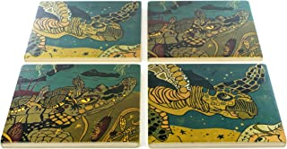 product image for Turtle and Alligator Coasters - Original Woodcut By Jenny Pope - Set of 4 Wooden Coasters