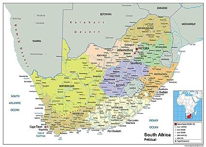 Cartina Africa Del Sud.Sud Africa Mappa Politica Del Wall Carta Plastificata Ga A0