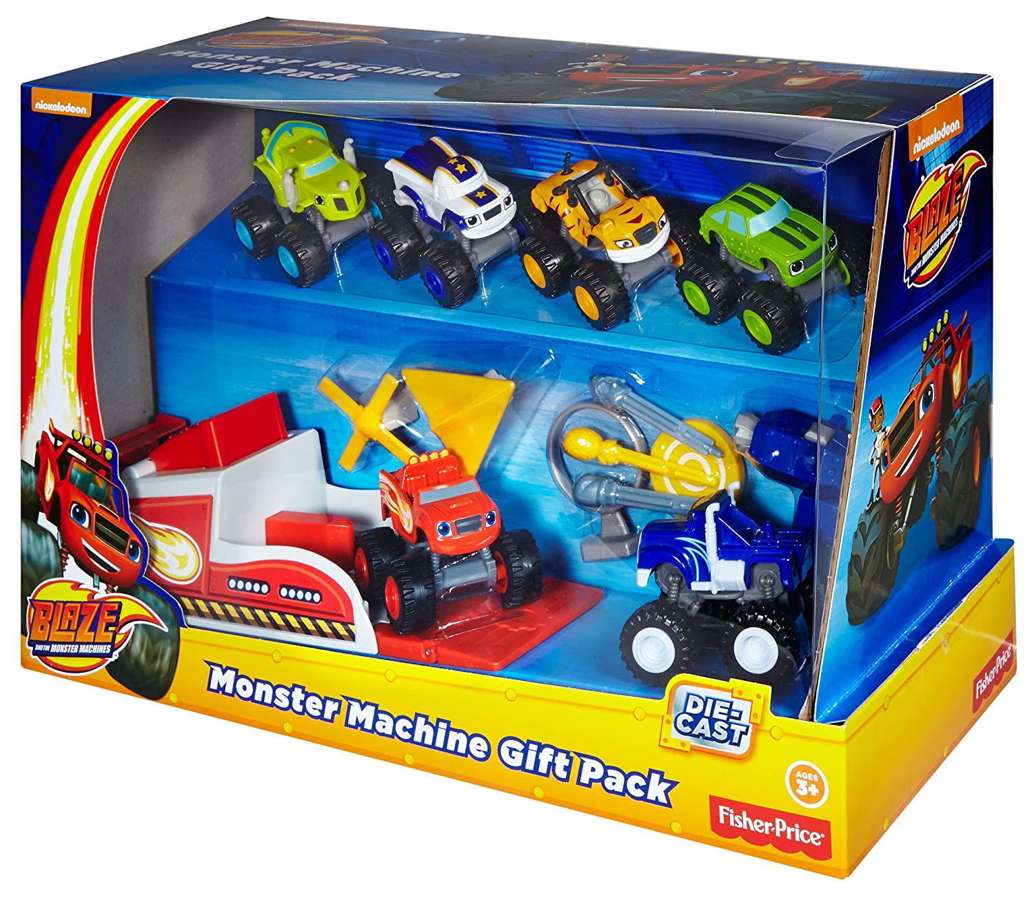 monster trucks die cast vehicle blaze fisher price new gift pack 6 cars launcher ebay. Black Bedroom Furniture Sets. Home Design Ideas