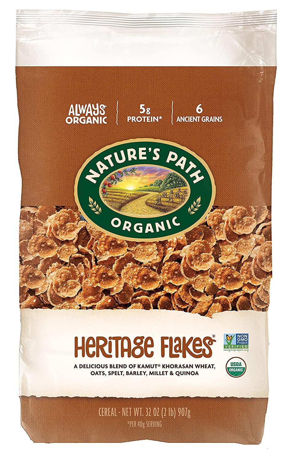 Amazon natures path organic cereal heritage flakes 32 ounce amazon natures path organic cereal heritage flakes 32 ounce bag pack of 6 cold breakfast cereals ccuart Image collections